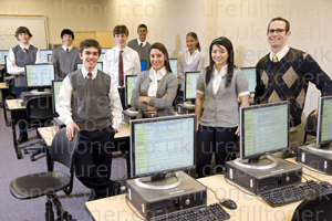 teacher and pupils in computer lab